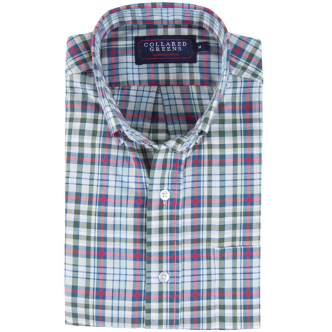 The Poe Button Down Shirt Green/Navy/Red