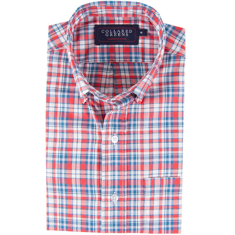 American Made Collared Greens Poe Button Down Shirt Tailored Fit Red