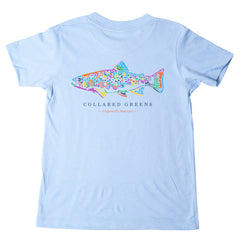 American Made Collared Greens Kids Short Sleeve T-Shirt Super Soft Rainbow Trout Carolina Blue