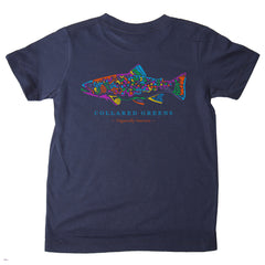 American Made Collared Greens Kids Short Sleeve T-Shirt Super Soft Rainbow Trout Navy Blue