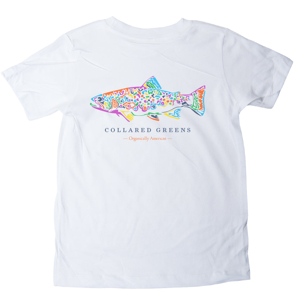 American Made Collared Greens Kids Short Sleeve T-Shirt Super Soft Rainbow Trout White