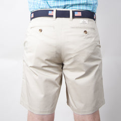 "Classic 9"" Shorts - Stone Khaki Shorts - Collared Greens American Made"