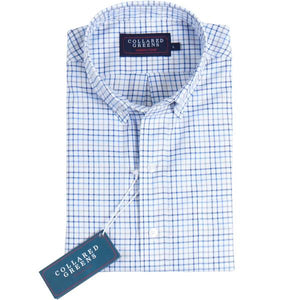 American Made Collared Greens Stuart Button Down Gingham Grey Blue