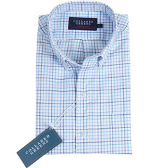 American Made Collared Greens Stuart Button Down Gingham Teal BLue