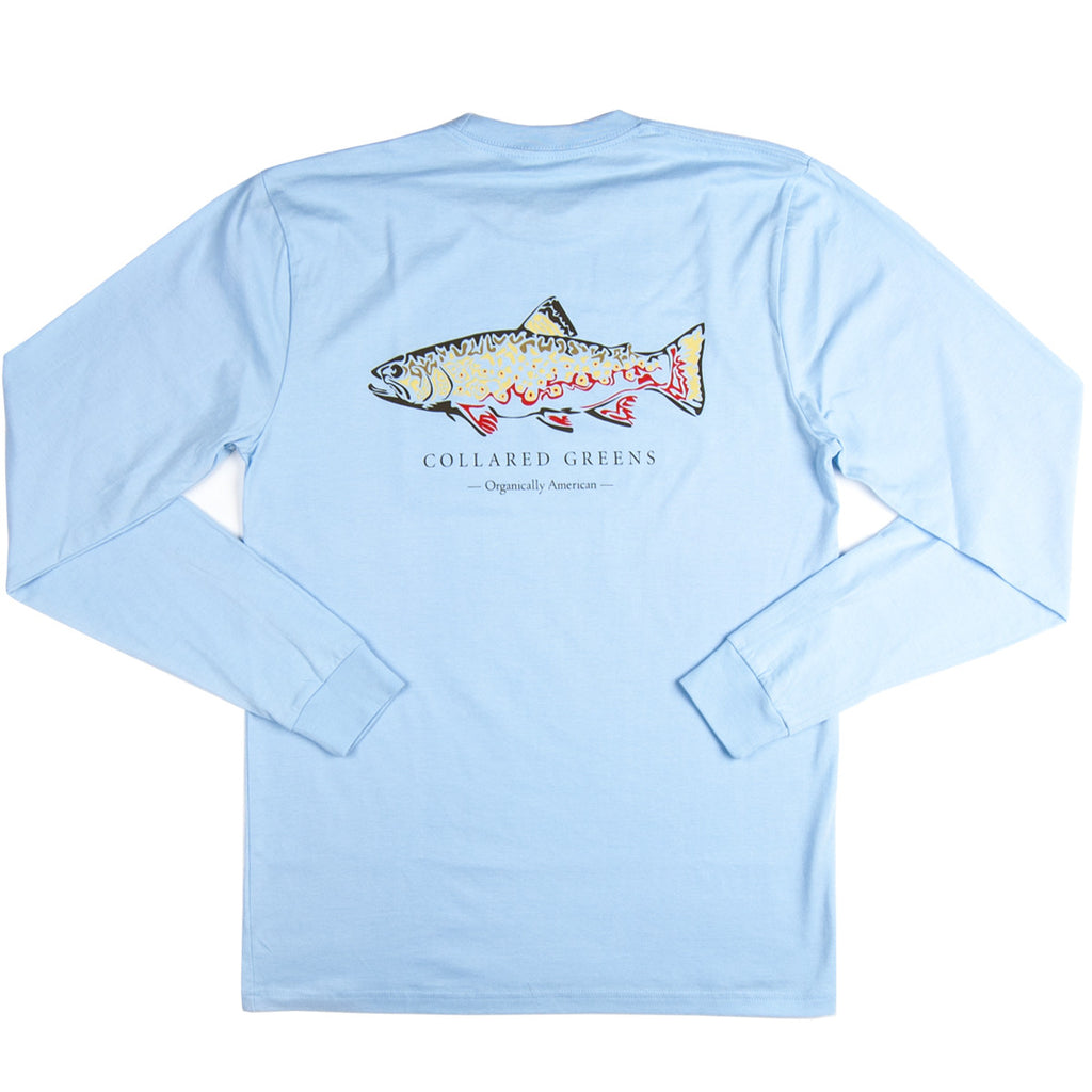 Trout Long Sleeve T Shirt Collared Greens American