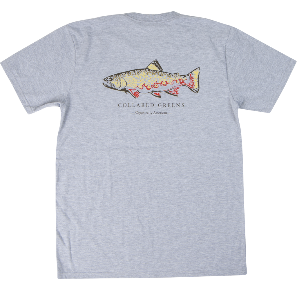 Collared Greens American Made Super Soft Short Sleeve T-Shirt 100% Cotton Trout Grey