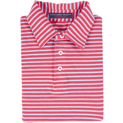 The Ward Men's Performance Polo Salmon/Carolina - Collared Greens