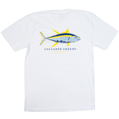 Collared Greens American Made Super Soft Short Sleeve T-Shirt 100% Cotton Yellowfin Tuna Fish White