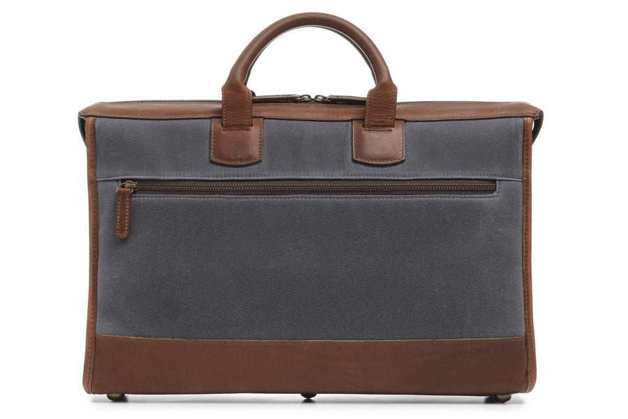 Sawyer: Briefcase - Waxed Canvas - Cobalt