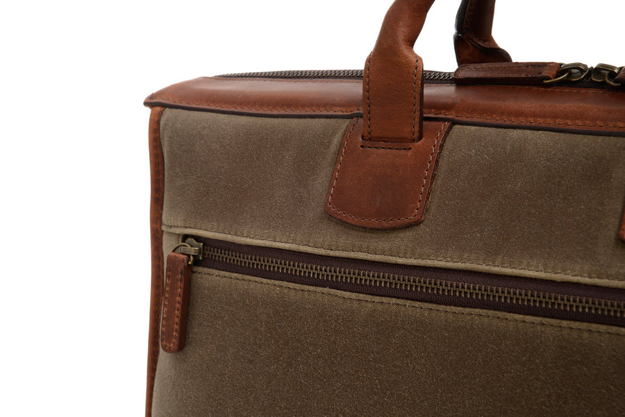 Sawyer: Briefcase - Waxed Canvas - Olive