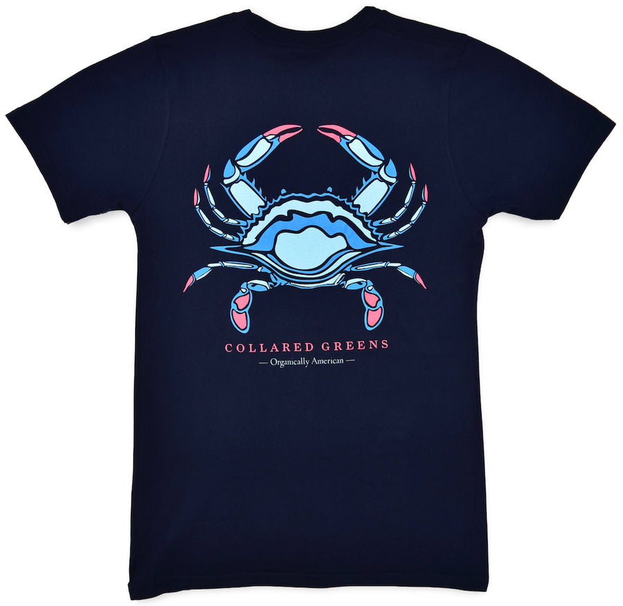 Blue Crab: Short Sleeve T-Shirt - Navy