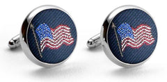 American Flag: Woven Silk Cufflinks - Navy