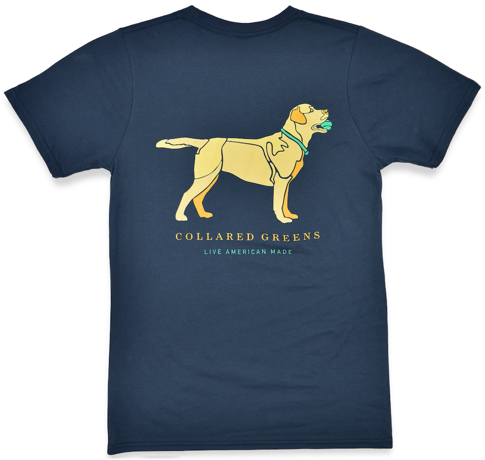 Yellow Lab: Short Sleeve T-Shirt - Steel Blue