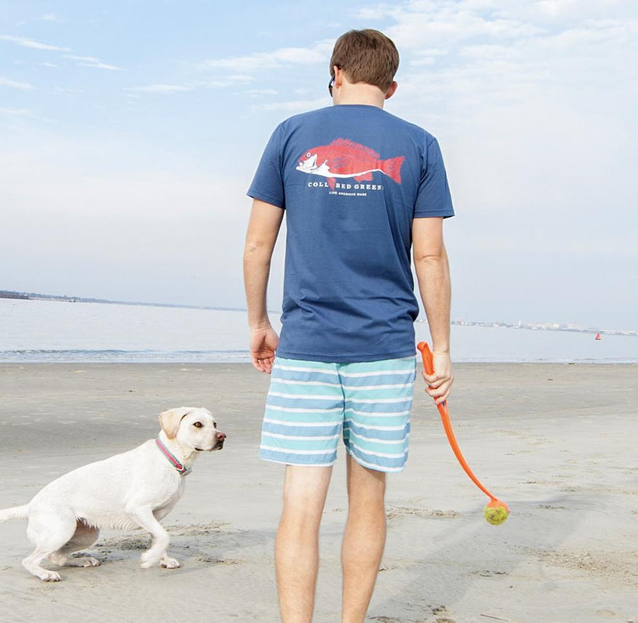 Good Boy: Long Sleeve T-Shirt - Yellow Lab on Steel Blue