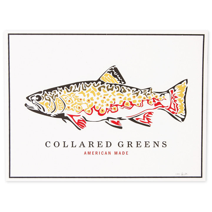 "Trout Screen Print Poster American Made 24"" x 18"" - Collared Greens"