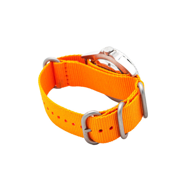 Seaborne Sea Venture Sunset Orange Bezel Automatic Watch with Bondi Blue Ballistic Nylon Strap