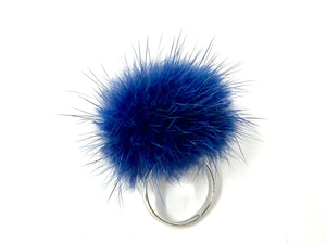Navy Blue Fur Ring
