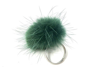 Sea Green Fur Ring