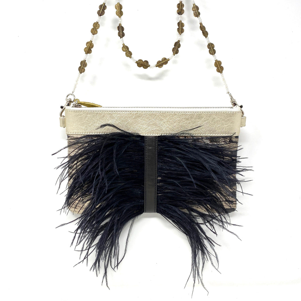 cruelty-free feathers leather  crossbody clutch