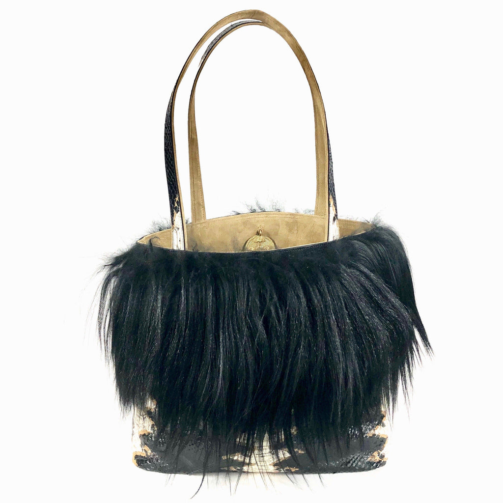 tote bag leather snake embossed leather long hair goat up-cycled fur black