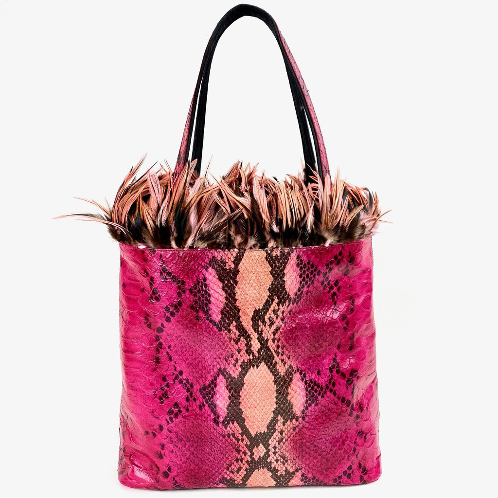 Tote Bag pink snake boa leather rooster feathers