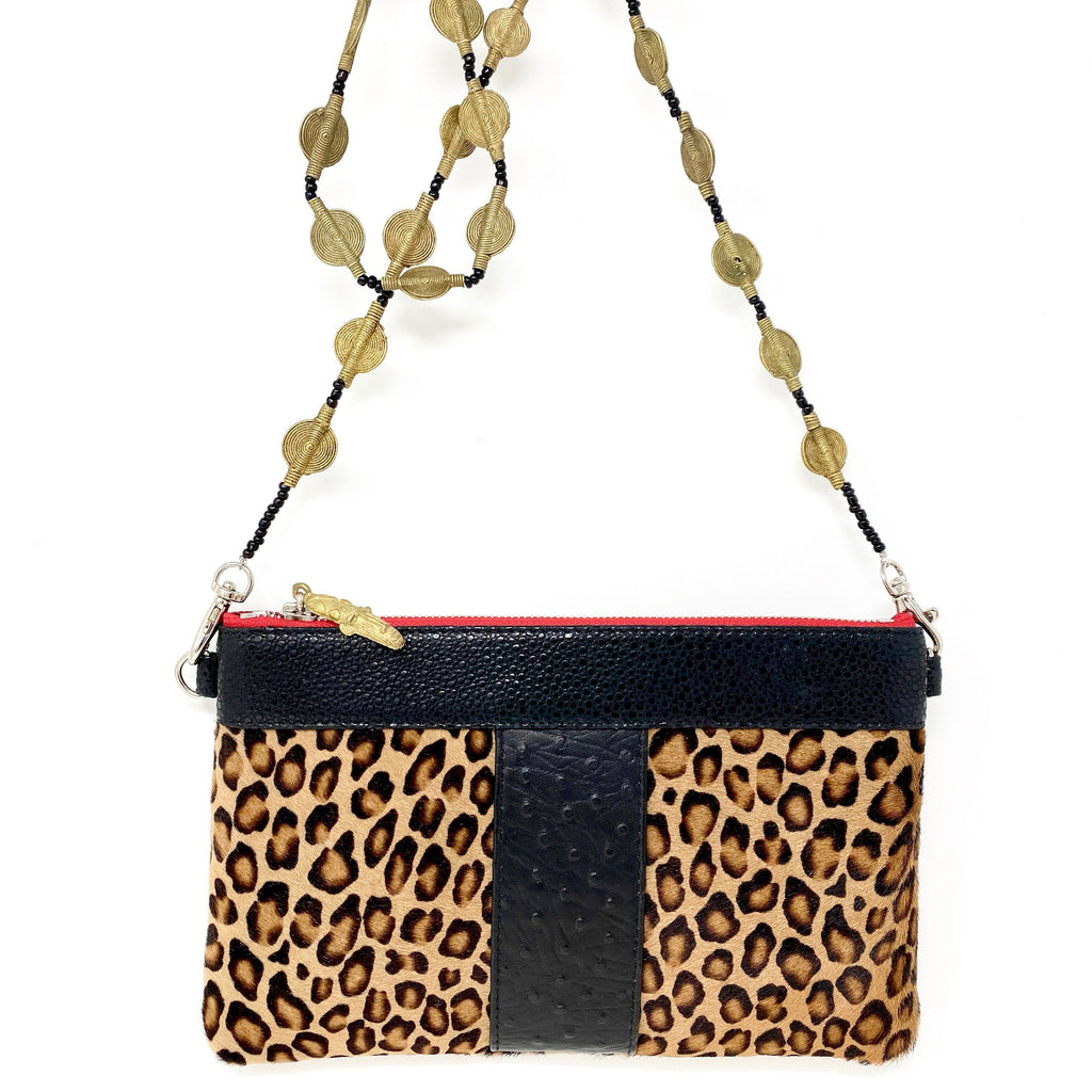 Crossbody leopard print ostrich embossed leather clutch