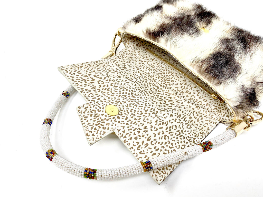 Shoulder Handbag leather up cycled fur African beads
