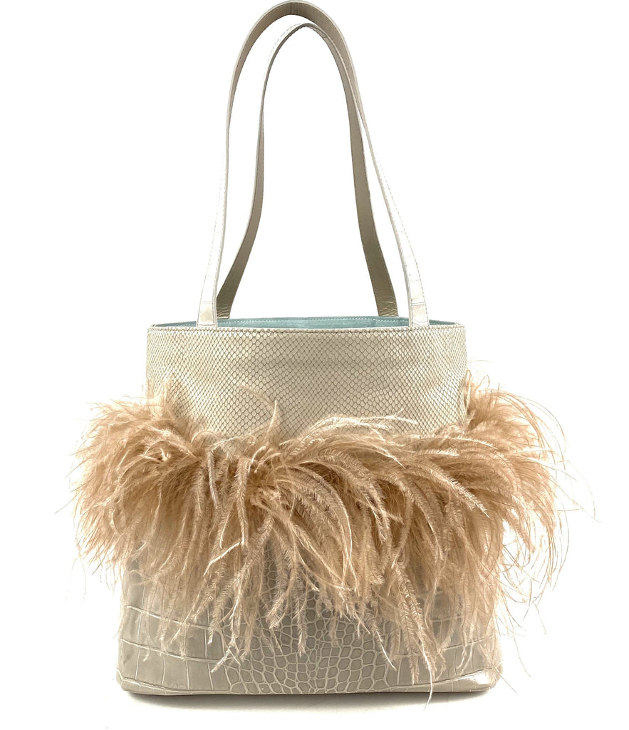 Tote Bag crocodile reptile embossed leather ostrich cruelty free feathers pink