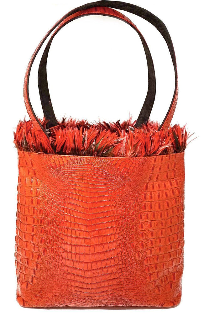 tote bag red crocodile skin embossed feather