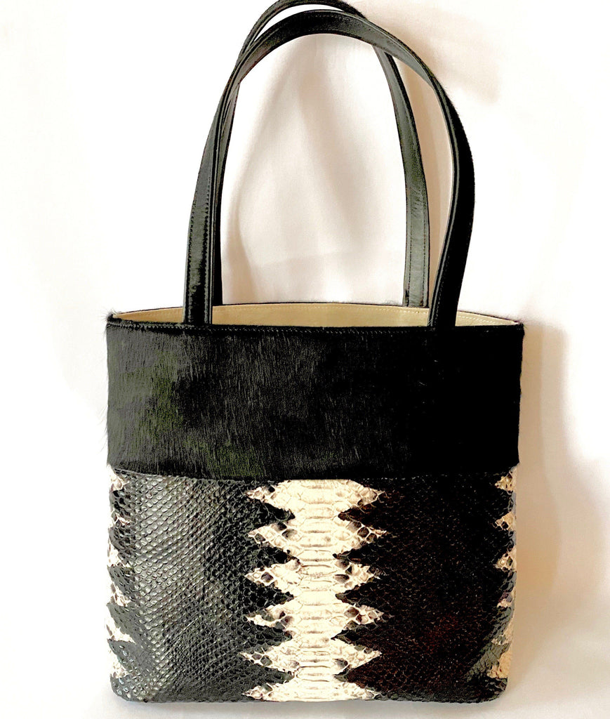 tote bag cow hide leather snake embossed