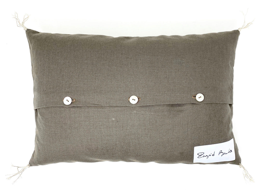 floral print leather pillow