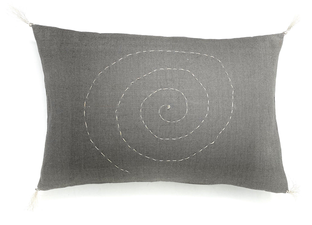 linen embroidered design pillow
