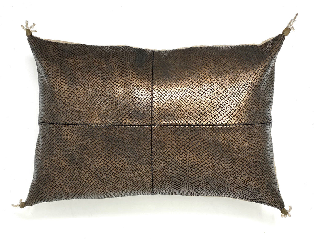 copper snake skin embossed leather pillow