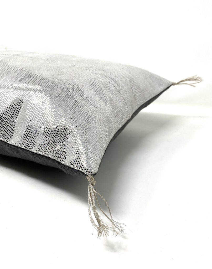 stingray silver leather pillow