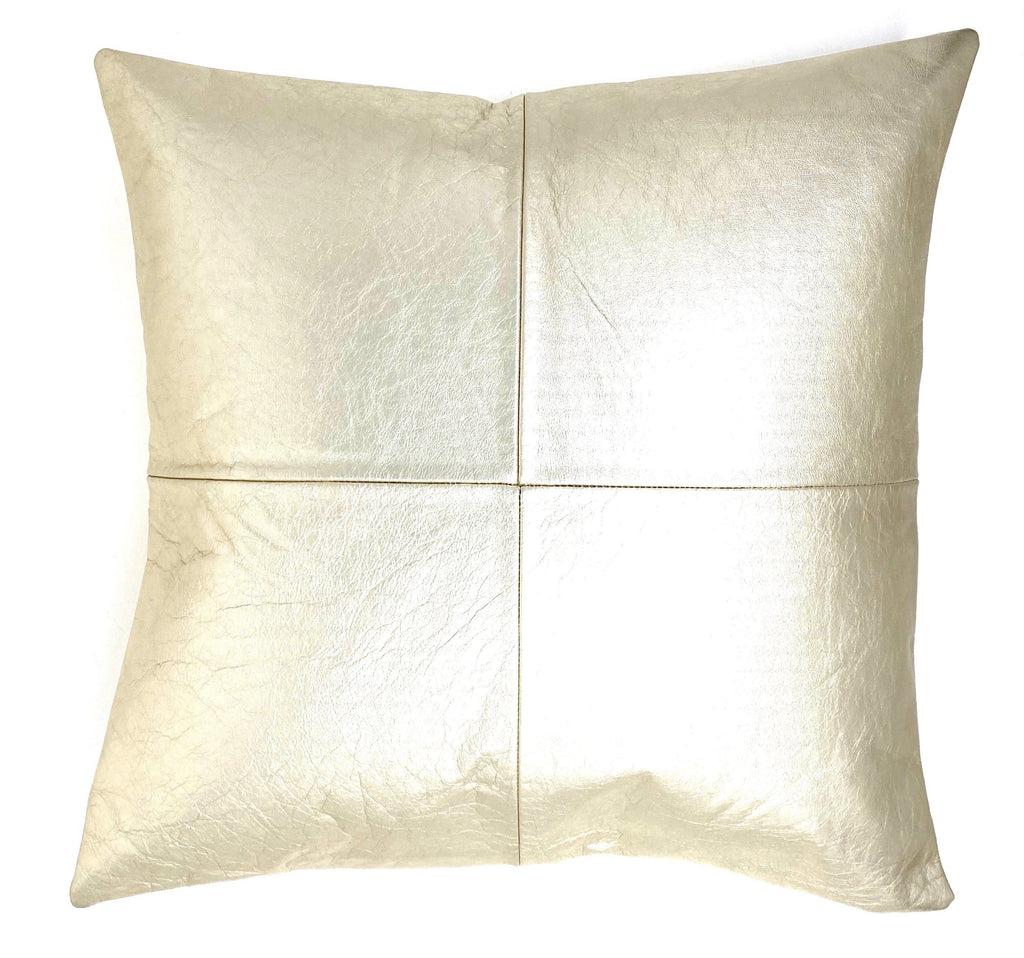 pearlized champagne leather pillow