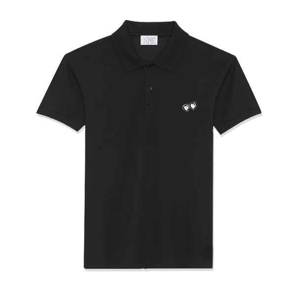COURANT BLACK POLO SHIRT W/ METALLIC SILVER HEART SHAPED LOGO