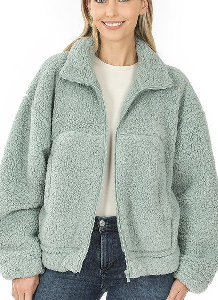 Cozy Teddy Bear Sherpa Zipper Front Jacket Assorted Colors S M L XL