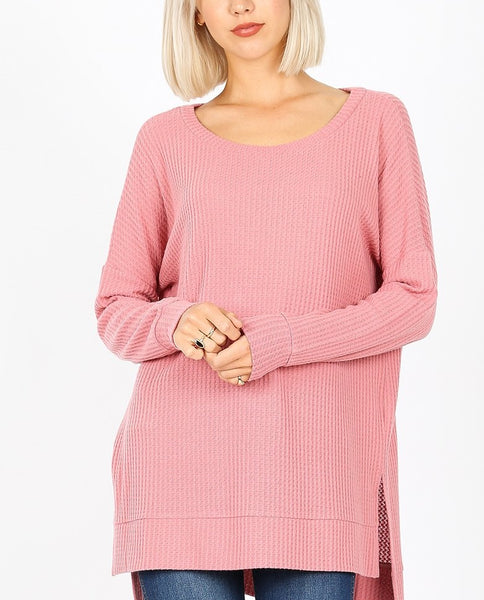 Basic Thermal Waffle Long Sleeve Tunic Top Lighter Weight Dusty Rose S M L XL