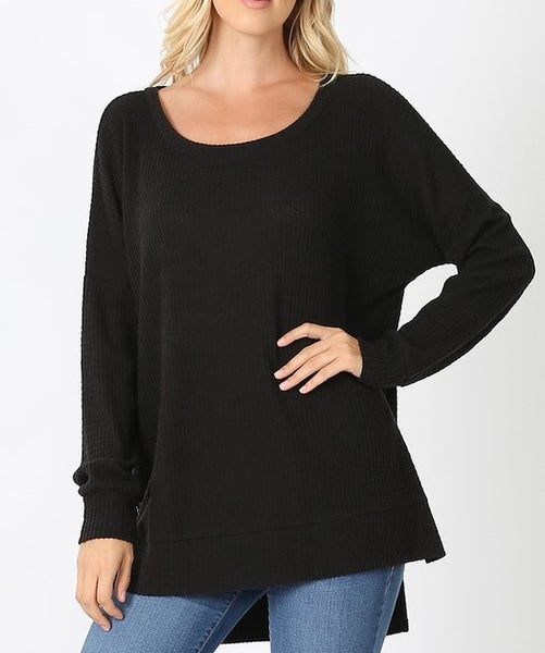 Basic Thermal Waffle Long Sleeve Tunic Top Lighter Weight Black  XL