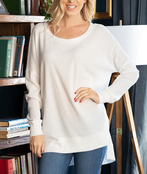 Basic Thermal Waffle Long Sleeve Tunic Top Lighter Weight Ivory S M L XL