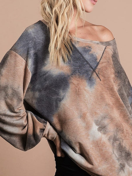 Tie Dye Pullover Lightweight French Terry Top Light Mocha Charcoal S M L XL