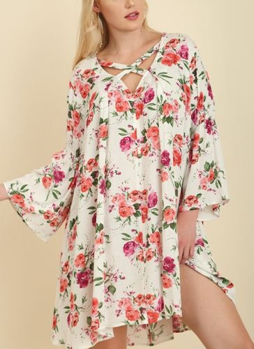 Floral Escape Tunic Mini Dress Criss Cross Neckline S M L