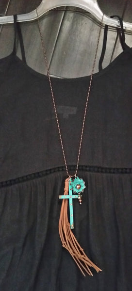 "Bless My Country Soul ... Cross and Flower Necklace Hand Crafted Metal 35"" Chain"