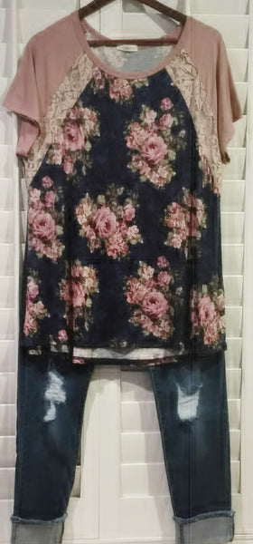Sale A Day In May Floral Baseball T Shirt Top Navy Floral with Lace 1XL 2XL 3XL