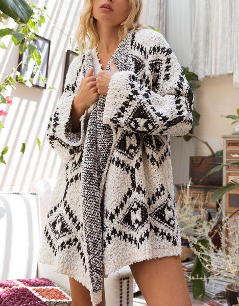 Aztec Cardigan Sweater Textured Open Waterfall Front Cream Black S L