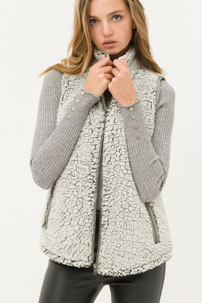 Cozy Up Sherpa Zippered Vest Olive or Black S M L