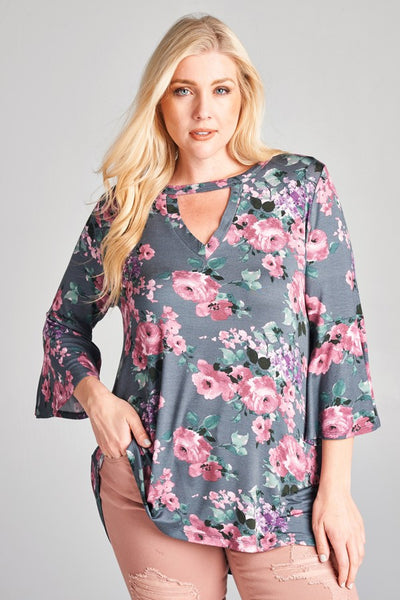Floral Days Choker V Neck Tunic Top Plus Size Charcoal Floral 1XL 2XL 3XL