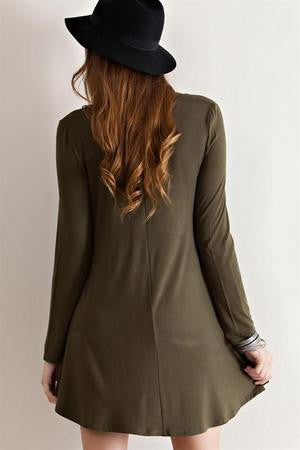 Weekender Relax Fit Casual Long Sleeve V Neck Dress Olive