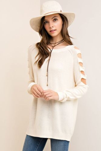 Casual Sunday Ladder Cut Out Sleeve Sweater Natural  L