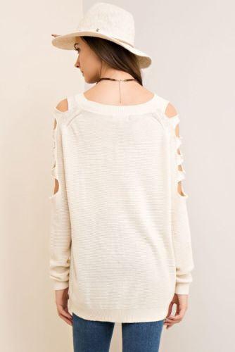 Casual Sunday Ladder Cut Out Sleeve Sweater Natural S M L